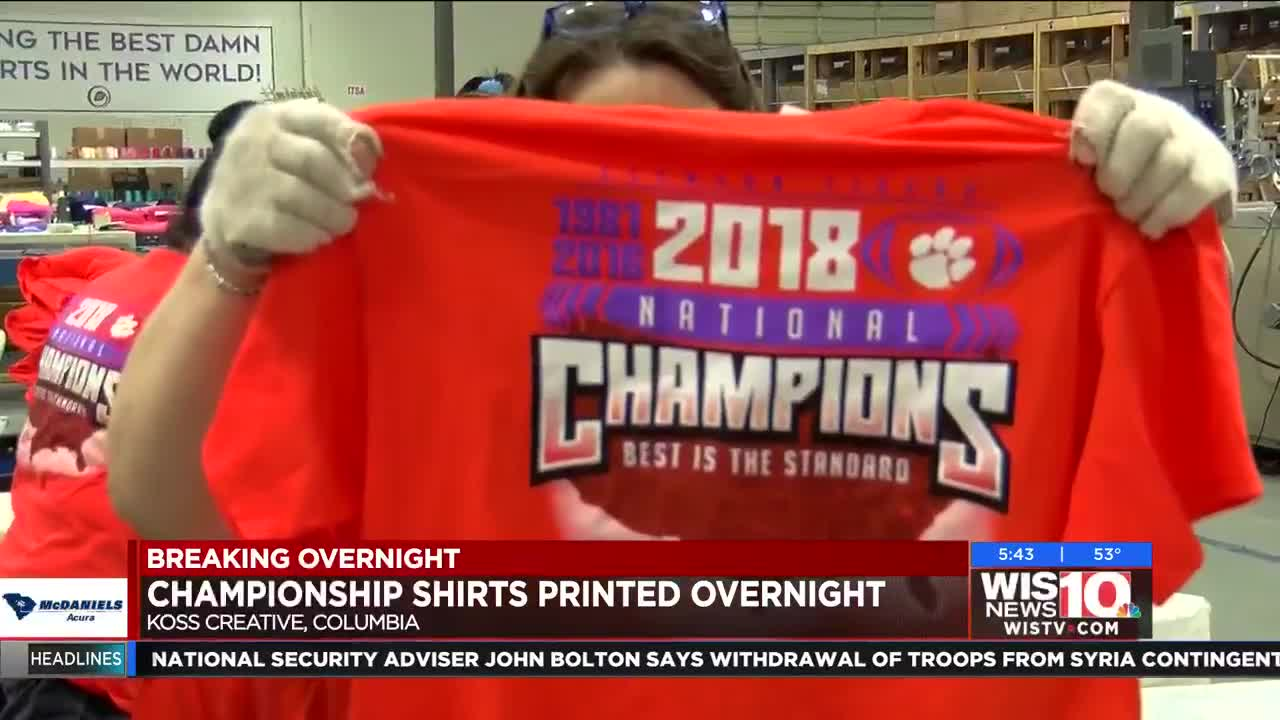 Printing Begins For Clemson Championship T Shirts Overnight
