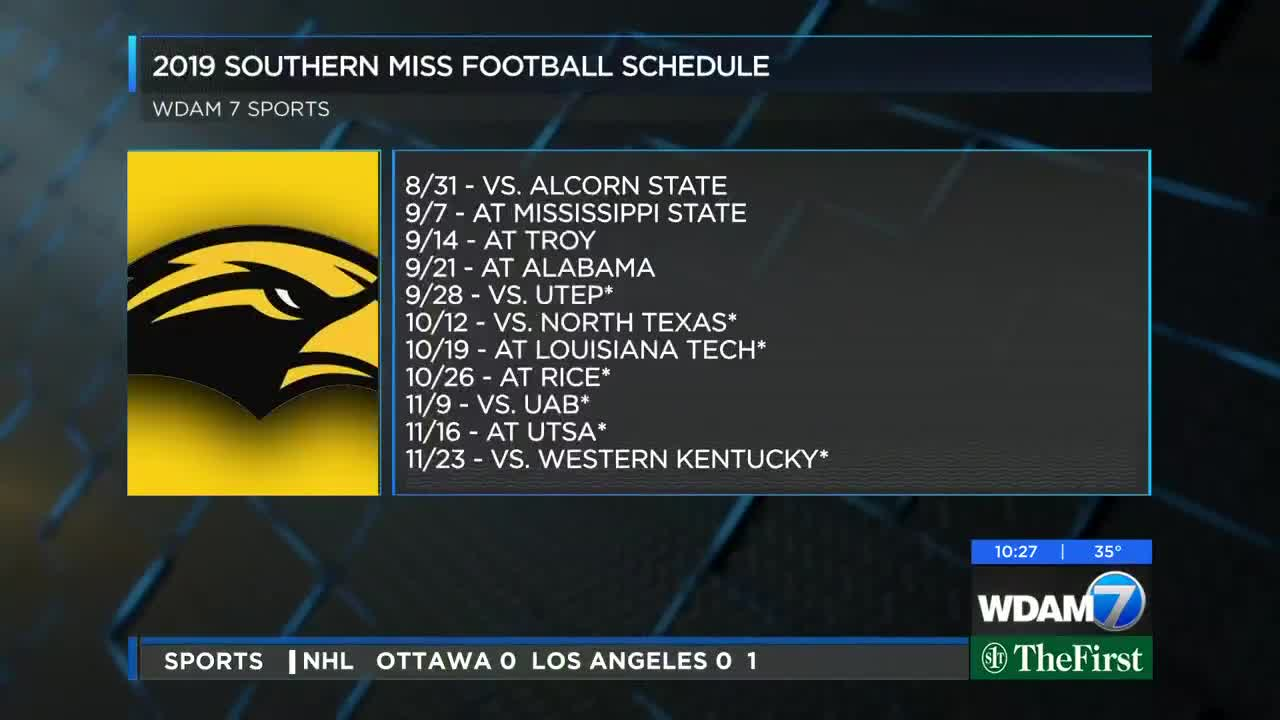 Southern Miss Football Schedule 2019 USM football to hit road 7 times in 2019