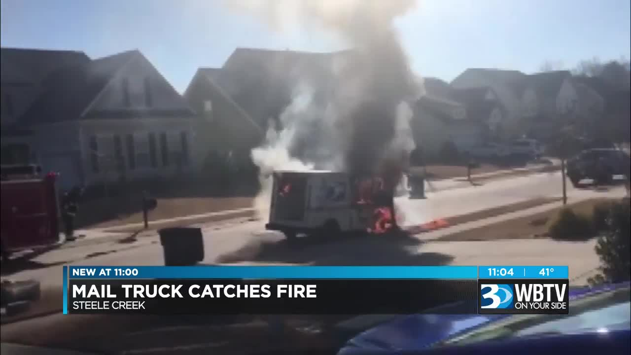 Postal Truck Catches Fire In Steele Creek