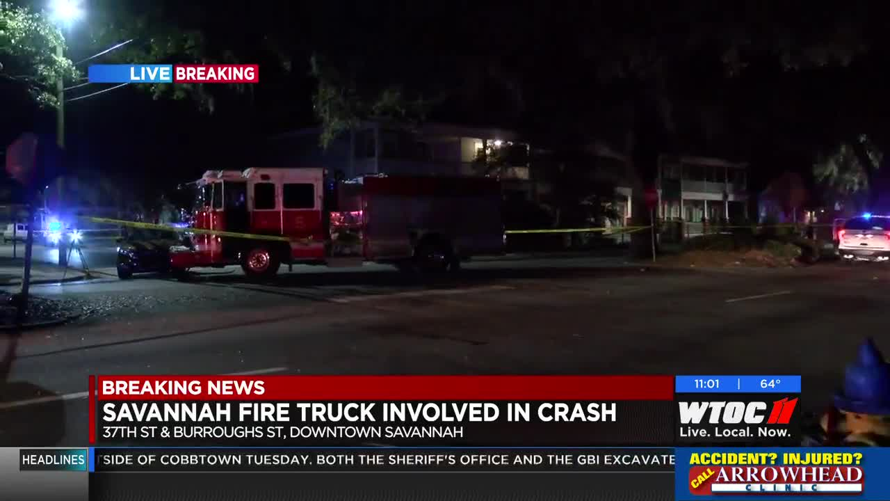 One person taken to hospital after crash involving a fire truck