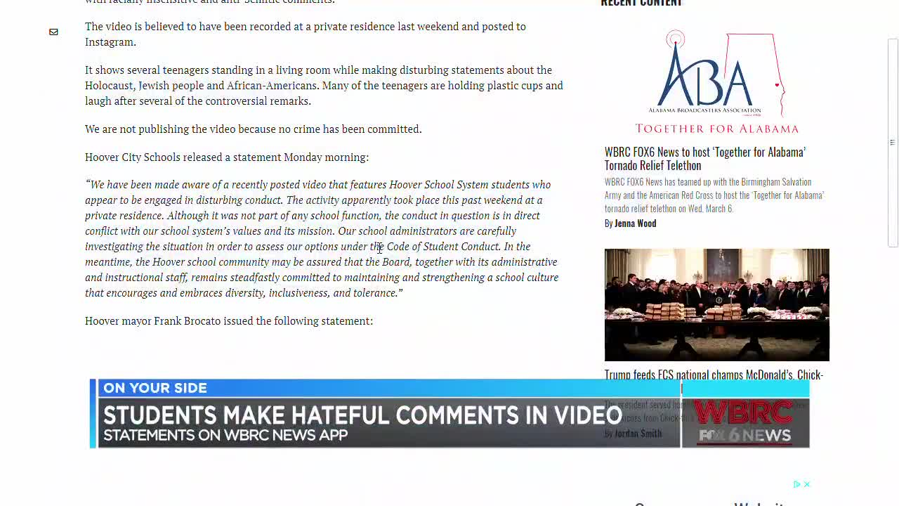 Hoover mayor responds to racist complains after viral video