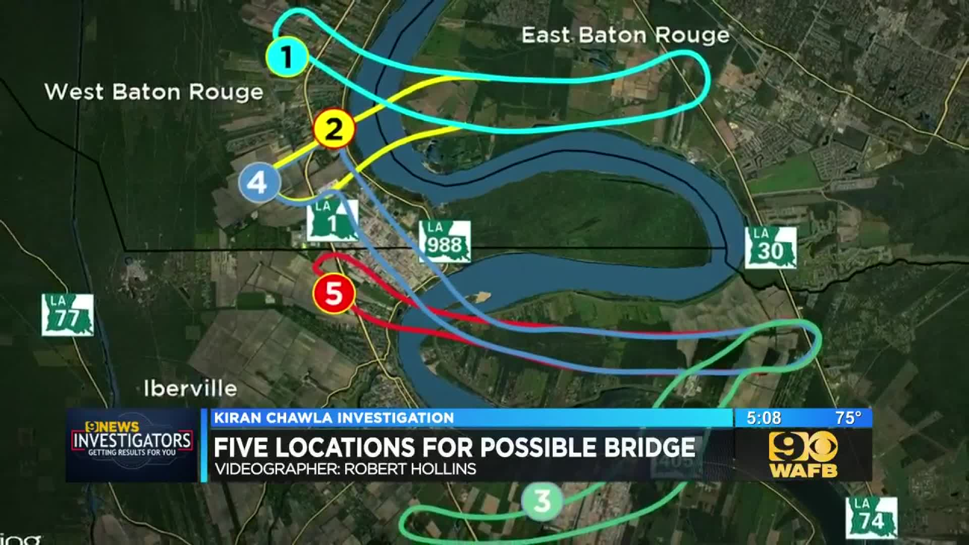 DOTD eyeing 5 locations for possible new bridge in Baton Rouge area