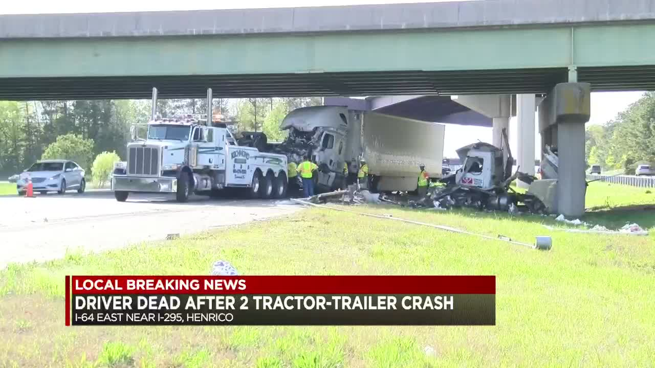 Police identify driver killed after 2 tractor-trailers crash on I-64