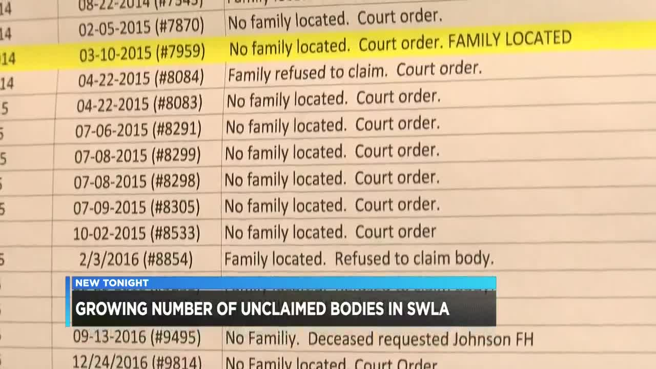 Coroner's Office: Number of unclaimed bodies up nationwide