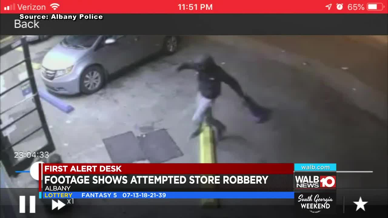 Surveillance footage shows violent attempted armed robbery