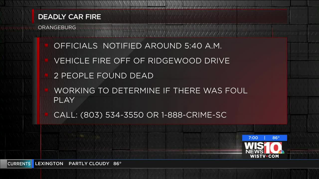 Orangeburg County Sheriff's Office investigating deadly car fire