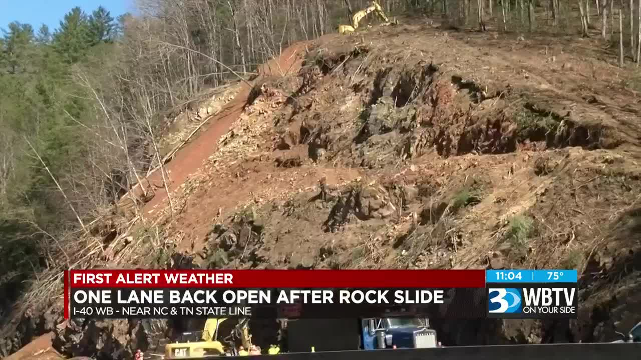 One lane open on I-40 west in NC mountains after rockslide