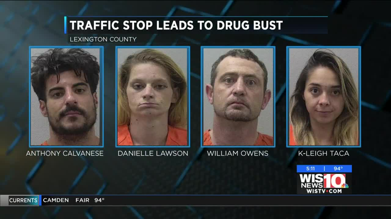 Traffic stop leads to drug bust, 4 arrests in Lexington Co