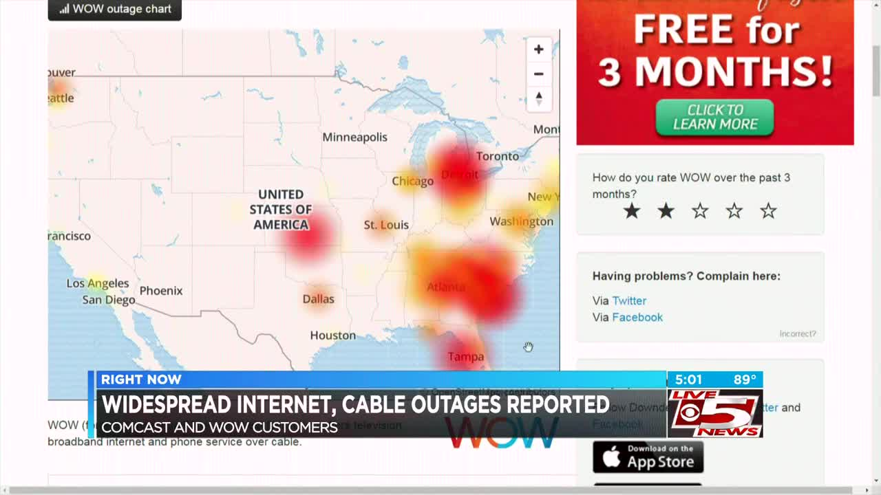 Damaged fiber optic cable leads to internet outages across