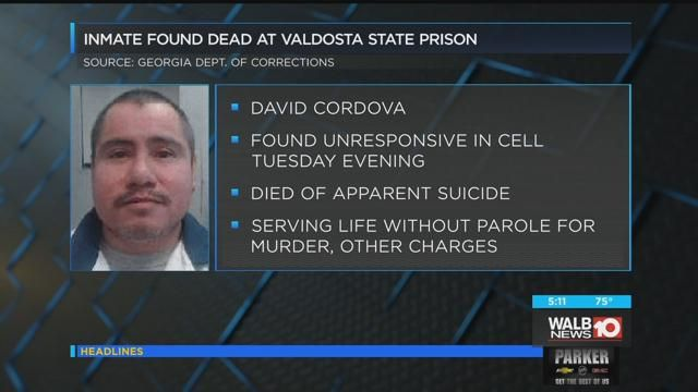 Prison officials say inmate appears to have killed himself