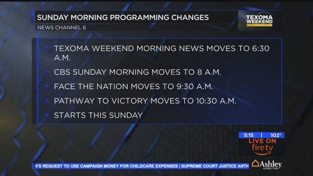Your weekend programming is set to change on Sunday