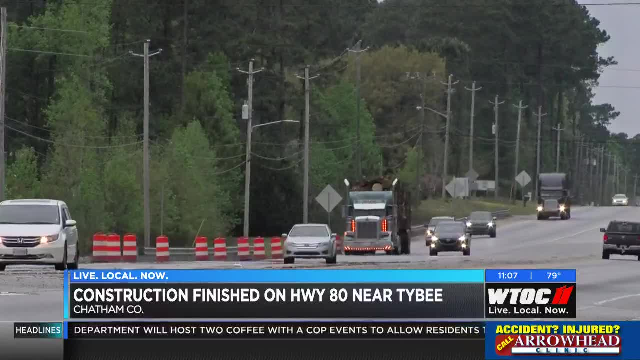 Officials say construction complete on Highway 80 near Tybee