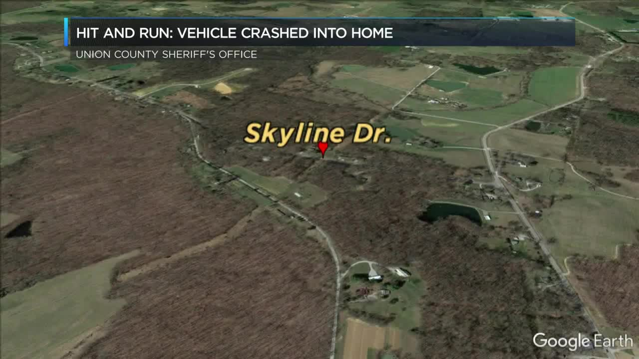 Union Co  deputies looking for vehicle that hit a house
