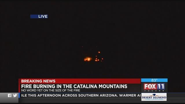 Pontatoc Fire burning in the Catalina mountains