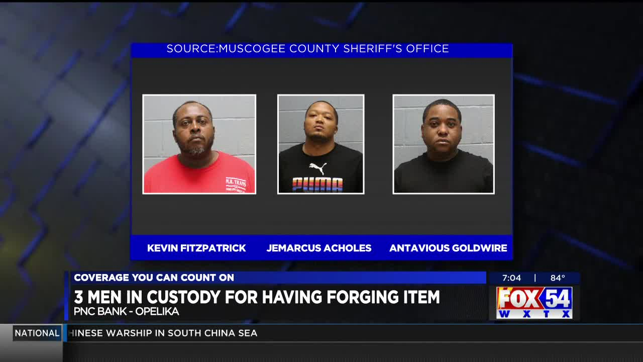 3 suspects arrested for forgery at PNC Bank in Opelika