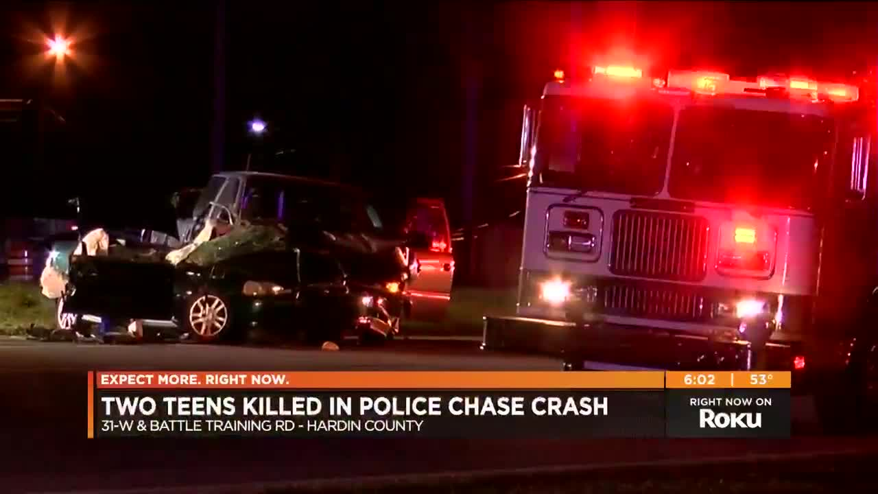 Teens killed by suspect in Hardin Co  police chase crash