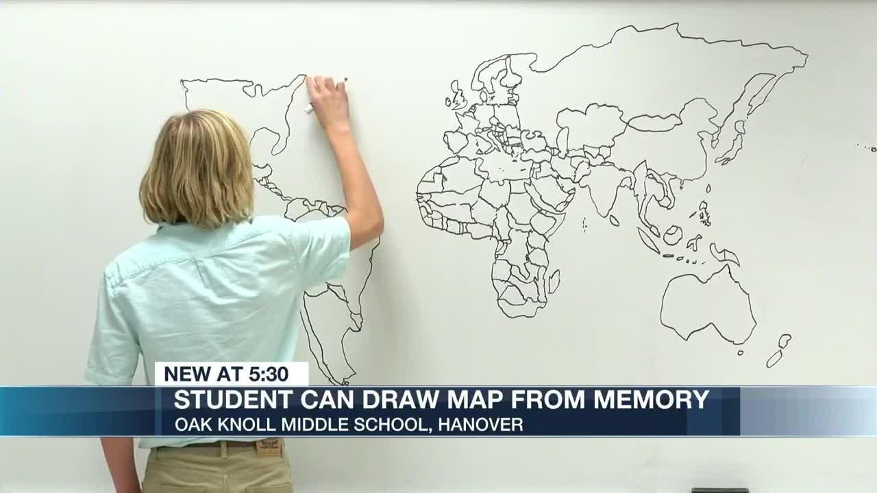 Middle school student can draw world map from memory