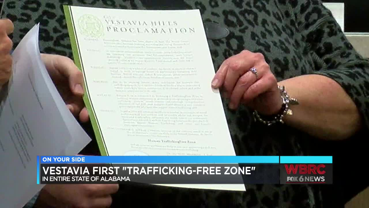 "Vestavia Hills first city in the state to proclaim community a ""sex trafficking free zone"""